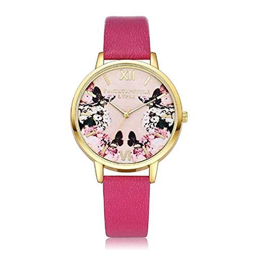 Frauen Quarz Uhren Analog Clearance Damen Armbanduhren Mädchen Uhren Leder Damenuhren 2019 neue Moeavan Uhr Damenmode Blume Zifferblatt Roségold Damenuhr (Pink)