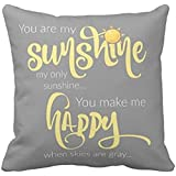 You are my sunshine; yellow on gray, with chevron pillow case 1818