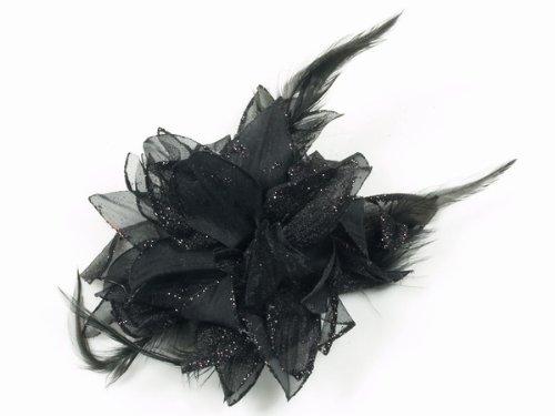 Glitz4Girlz Fascinator Blume schwarz Glitzer (Glitzer Corsagen)