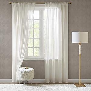 SCM Gardinen Schals in Leinen-Optik Leinenstruktur Vorhänge Schlafzimmer Transparent Vorhang für Kleine Fenster Doris…