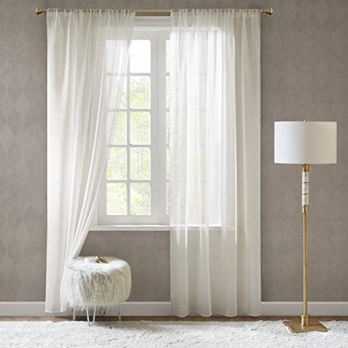 in Leinen-Optik Leinenstruktur Vorhänge Schlafzimmer Transparent Vorhang für große Fenster Doris Off White, lang (2er-Set, je 245x140cm) ()