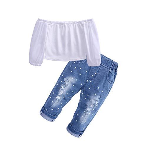 ebe5a5610 Mitlfuny Primavera Verano Camisetas Jeans Conjunto de Ropa Bebé Niña Hombro  sin Tirantes Camisas Recién Nacido