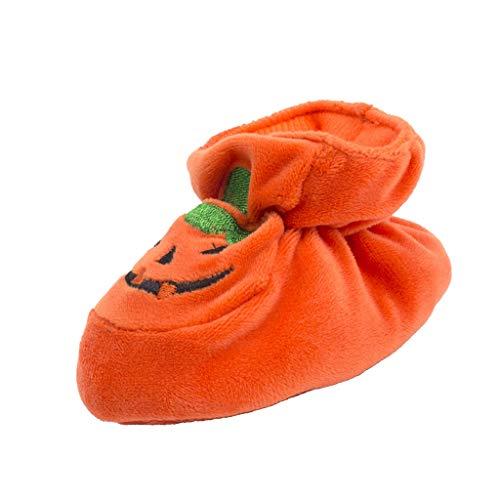 P Prettyia Baby Kürbis schuhe Krabbelschuhe Halloween Geschenk - Orange, 10 cm