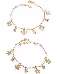 Efulgenz Multicolour Copper Charm Bracelet for Women Combo