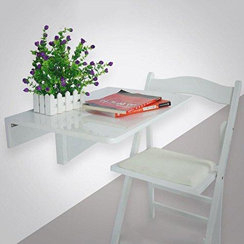 Schreibtische HAIZHEN Drop Leaf Esstisch Wandmontierte Workstation Massivholz Tisch und Stuhl Set 60 * 40cm Klapptisch (Farbe : Weiß) -