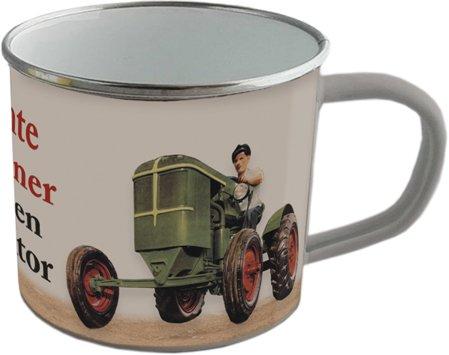 Emaille Becher - ECHTE MÄNNER FAHREN TRAKTOR - BB09 emaillierte Tasse - Traktor-becher