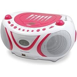 Metronic 477109 Radio / Lecteur CD / MP3 Portable Pop Pink avec Port USB - Rose et Blanc