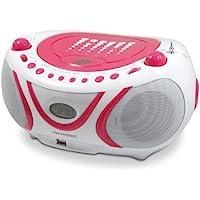 Metronic 477109 Radio/Lecteur CD/MP3 Portable Pop Pink avec Port USB - Rose et Blanc