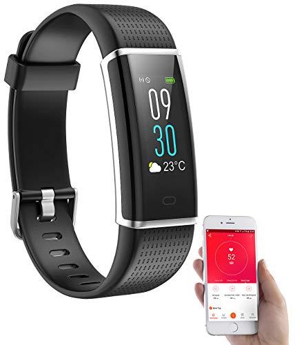 PEARL Fitnessarmband mit GPS: Fitness-Armband, GPS-Streckenverlauf, Puls, XL-Farb-Display, App, IP67 (Smart Armband)
