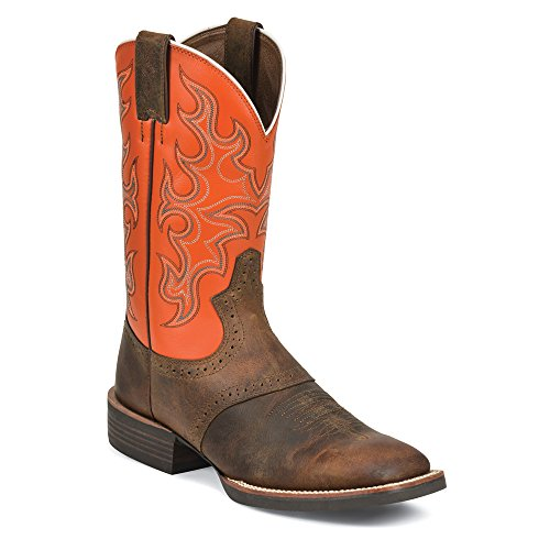 Justin Boots Silver Orange Cattleman Large Cuir Santiags Tan- Orange