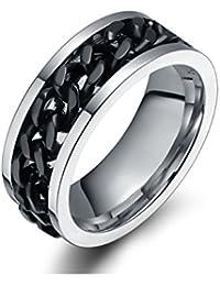 Sorella'z Mens Stainless Steel Black Chain Ring