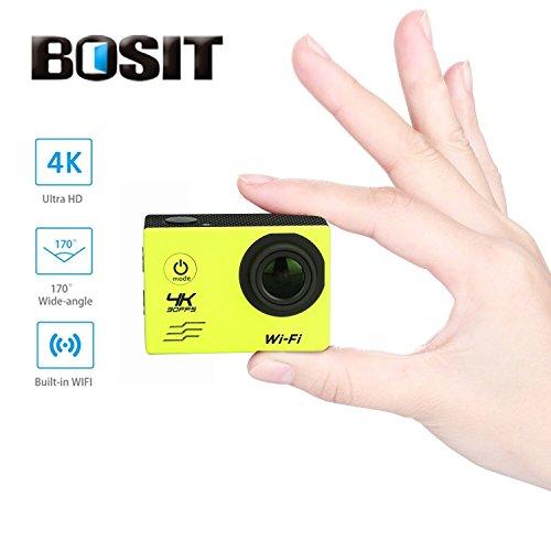 Bosit azione Camara, 4K HD Sports Action Camera, 12MP WiFi impermeabile camera 170gradi di angolo di vista largo 5,1cm schermo LCD/19Accessori kits- giallo, Yellow