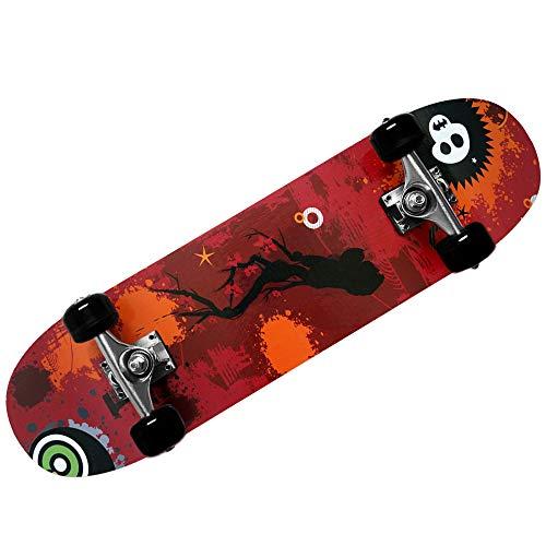 Deuba Atlantic Rift Skateboard Skate Board Komplettboard Deck Funboard Holzboard ABEC 9 80x24cm Ahornholz orange -【Farbauswahl】 -