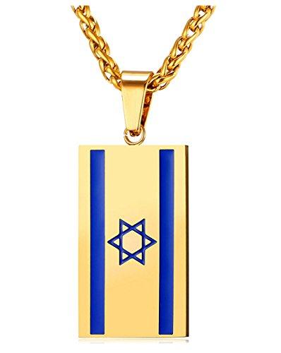 Platte Schmuckstück Israelische Flagge, Stahl emailliert und vergoldet