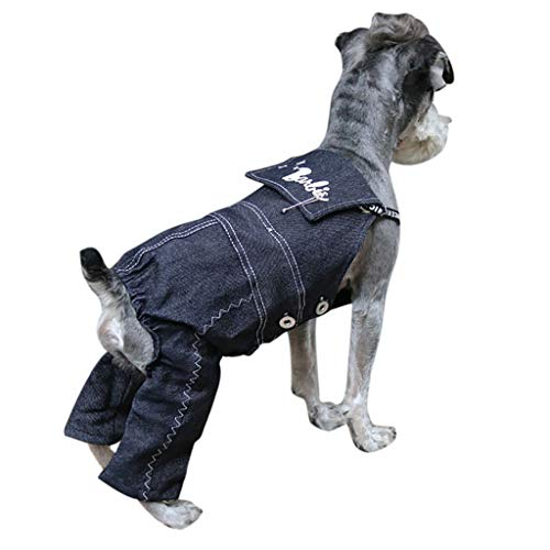 Smniao Mode Kleidung für Hunde, Denim, Dog Romper Kleine Mittel Hunde, Cowboy Latzhose Jeans Kostüm für Welpen Katze S-XXL (XL, - Denim Romper Kostüm