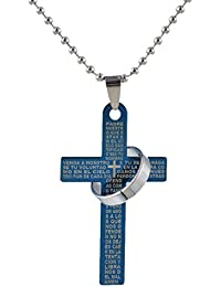 Hexawata Womens Blue Color Cross Ring Pendant With Scriptures Chain Necklace With Lobster Clasp 45cm