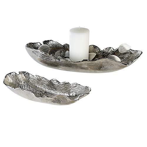 Casablanca Schale Bellevue Alu vernickelt L.60 cm im Silbernen Antikfinish BxHxT 60 x 12 x 20