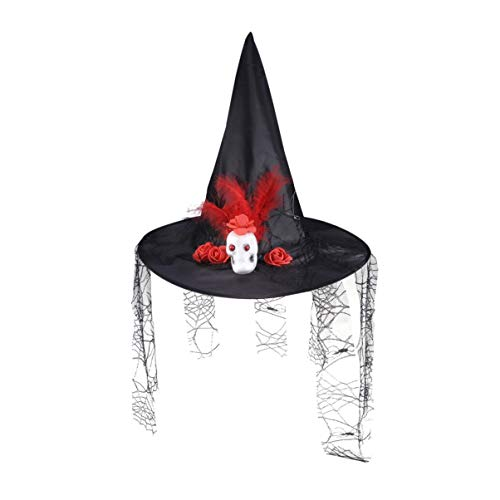 Amosfun Halloween bösen Hexenhut mit Spinnennetz und Schleier Halloween Cosplay Kostüme Zubehör