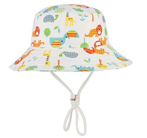 DEMU Baby Kleinkinder Fischerhut Strandhut Sommerhut Sonnenschutz Kappe Mütze (Elefant, Hut Umfang ()