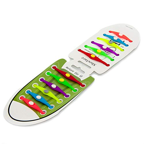 EPRHY Schnürsenkel aus Silikon, elastisch, Unisex, ohne Schnürsenkel, 12 Stück Multi -