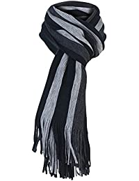 Mens Luxury Italian Inspired Stylish Warm Knitted Striped Winter Scarf One Size
