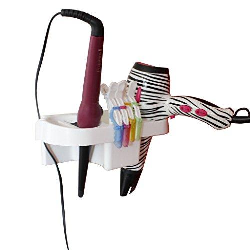 Starker Halter/Ständer für Haartrockner/Fön und Glätteisen/Lockenstab aus Kunststoff von Kurtzy – verstauen Sie alle Ihre Utensilien einem Ständer - mit selbst-klebenden Pads zum Aufkleben auf Ihrer Pinnwand - ideal für (Einziehbare Zähne)