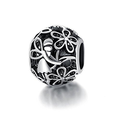 Waya Europea cuentas flor colgante de plata encantos para pulseras brazalete cadena de serpiente joyas
