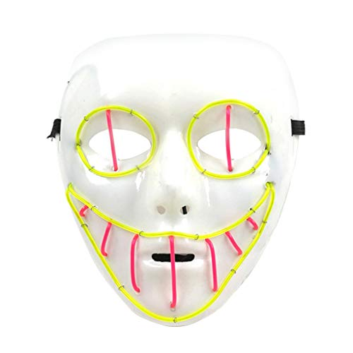 Lifet LED Halloween Masken, Erschreckend LED leuchten Maske für Party Kostüm, Weihnachten, Cosplay Festival Party Show 18.5 x 17.5 cm (C) (Holloween Sexy Herren Kostüm)
