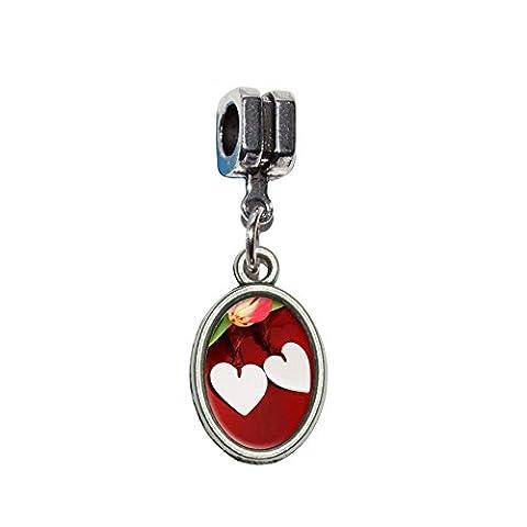 Love Romance mariage anniversaire cœurs Fleurs italien européenne Euro Style Perle Charm Bracelet–Compatible avec Pandora, Biagi, Troll, chamilla 18cm,