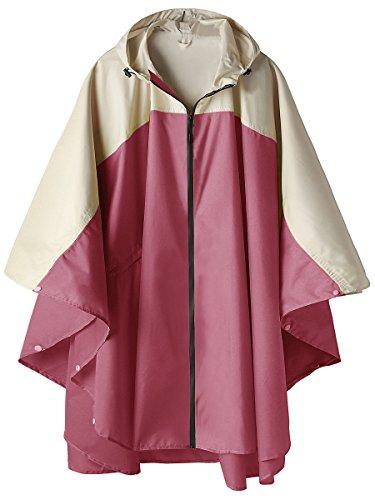 Wasserdicht Regen Poncho Jacke Mantel mit Kapuze Farbblock Rose Rot und Cremig-Weiß