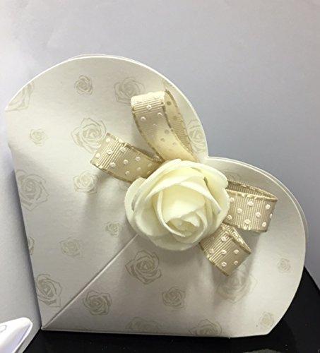 Stock 20 pezzi design rose scatolina in cartone cuore portaconfetti decorazioni escluse