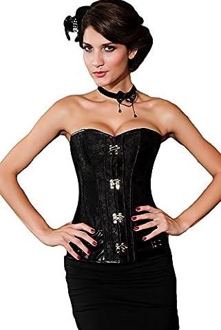 Saphira lingerie. Corset noir de style Steampunk pouvant se porter pour une soiree intime ou sur un jean