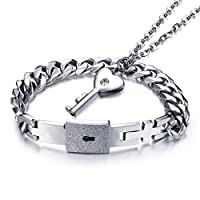 Carykon Concentric Lock Couple Suit Bracelet Necklace Key Perdant Titanium Steel Jewelry