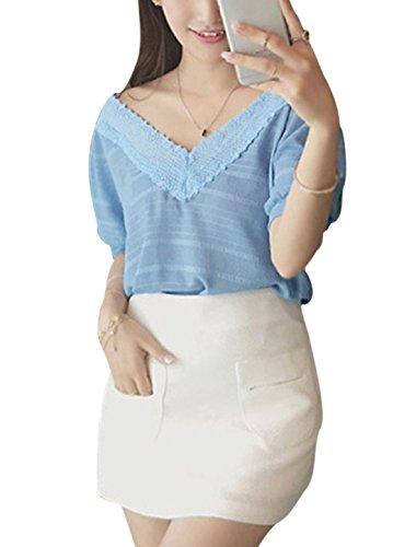 Pull Femmes Manche Courte Col V Profond Crochet Panneau Décontracté Blouse Bleu Ciel