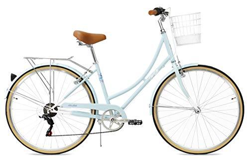 FabricBike Step City Damenfahrrad Amsterdam 28 Zoll Komfort Bike 7 Gang Hollandrad im Retro-Design (Sky Blue + Korb) -
