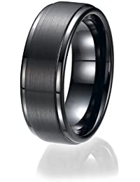 8MM Flat Top Two Tone Black Tungsten Ring Wedding Band