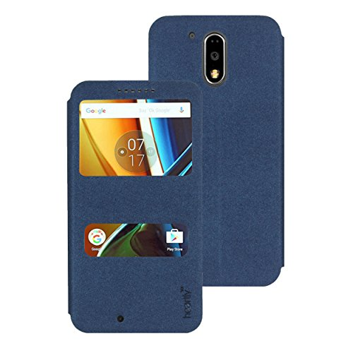 Heartly GoldSand Sparkle Luxury PU Leather Window Flip Stand Back Case Cover For Motorola Moto G Plus 4th Gen / Moto G4 Plus / Moto G4 - Power Blue