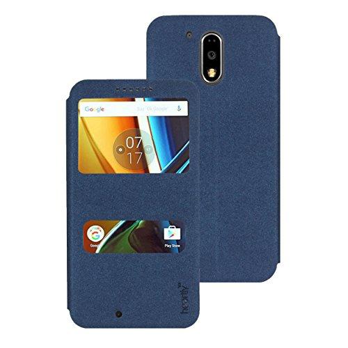 Heartly GoldSand Sparkle Luxury PU Leather Window Flip Stand Back Case Cover For Motorola Moto G Plus 4th Gen / Moto G4 Plus / Moto G4 - Power Blue