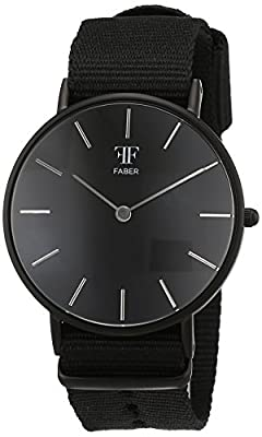 Faber time Unisex-reloj analógico de cuarzo nylon F500BK de Faber Time