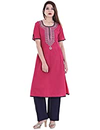 Palakh Women's Cotton Rani A-line Embroidered Kurti With Solid Blue Palazzo
