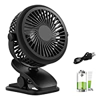 KOUQI Portable Clip Fan Convertible Table Top, Rechargeable Battery USB Powered Small Personal Cooling Fan, with 3 Energy-Efficient Speeds Features, Quiet Operation