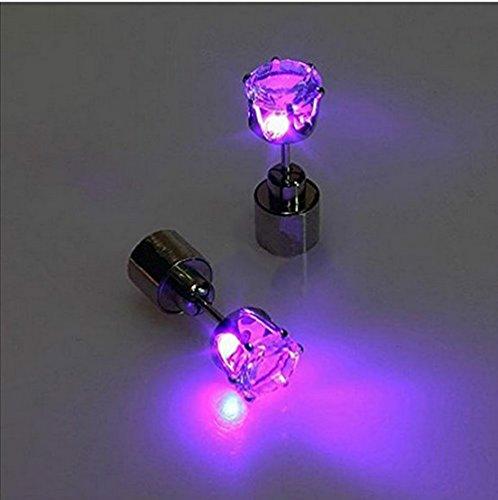 Accmart 2x LED Ohrringe Leucht Ohrstecker Ohrringe leuchtende Ohrringe mit Lila Licht Halloween Weihnachten Neujahr