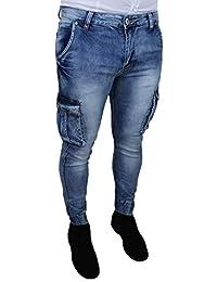 ... Abbigliamento   Uomo   AK collezioni. Jeans Uomo Cargo Blu Denim Casual  Slim Fit con tasconi Laterali 16c74956e16