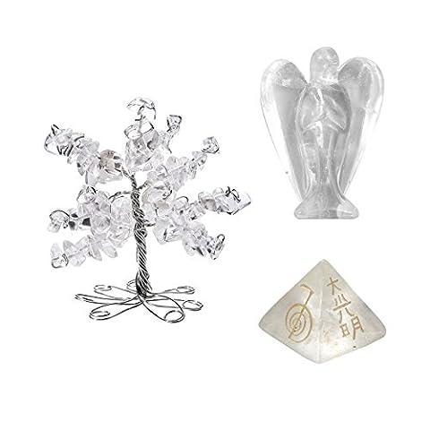 QGEM Fengshui Dekoration Set Healing Wire Wrap Trommelsteine Lebensbaum+Engel Schutzengel+Usui Reiki symbol Pyramide deko Talisman Energietherapie Glücksbringer