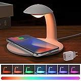 Lampara de Mesa, AURSEN 3 en 1 LED Luz de Noche y Luz Ambiente con 10W/ 7.5W/5W Cargador Inalámbrico Rapido Compatible iPhone/Samsung/HUAWEI, 7 RGB Colores, Brillo Ajustable (Con Adaptador QC 3.0)