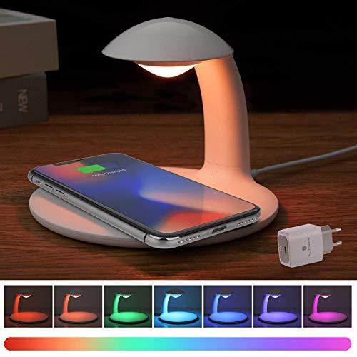 AURSEN LED Dimmbare Nachttischlampe mit Ladefunktion, Touch Control Tischlampe, RGB Farbwechsel Stimmungslicht, 10W Qi Ladestation für Samsung/iPhone/HUAWEI/Sony (mit Wireless Charger QC 3.0 Adapter) (- Farbe-iphone-ladegerät)