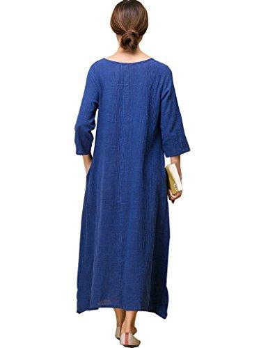 Youlee Frauen-Seitenschlitz-runde Kragen-Kleid Blau