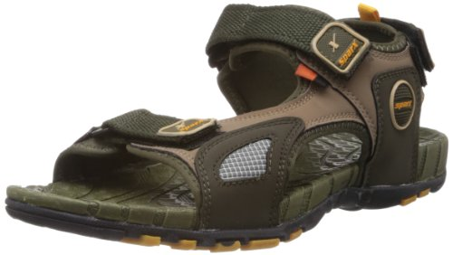 Sparx Men's Olive And Yellow Nylon Athletic & Outdoor Sandals  - 8 Uk