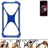 K-S-Trade Handyhülle für Sharp Aquos B10 Silikon Schutz Hülle Cover Case Bumper Silikoncase TPU Softcase Schutzhülle Smartphone Stoßschutz, blau (1x)