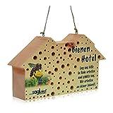 sagl.tirol holzmanufaktur Insektenhotel für Wildbienen aus Zirben Holz, Wildbienenhotel als Nisthilfe mit über 100 Bohrungen in 3/4/5/6/8/10 mm Durchmesser